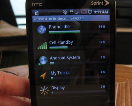 HTC EVO battery use