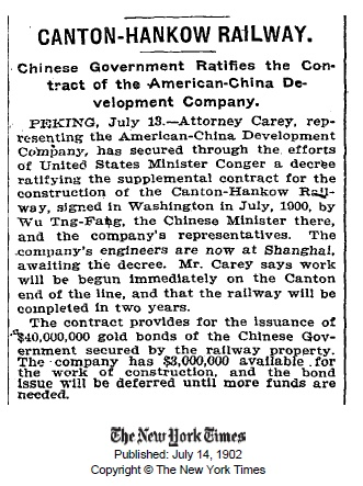 New York Times on Canton-Hankow Railway